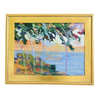 Listed California Artist Juan Guzman, Santa Barbara Seascape Landscape Oil Painting For Sale