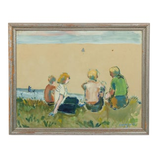 Family Portrait Overlooking the Sea Watercolor on Paper by Harald Isenstein 1938 For Sale