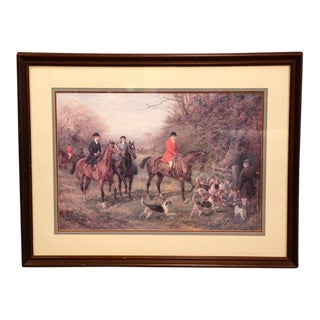 Large Framed Watercolor Hunt Scene With Horses and Dogs