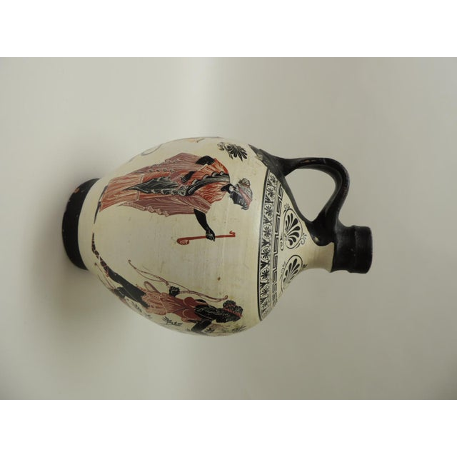 Vintage Encaustic Hand Painted Terracotta Greek Water Jug With Handle For Sale In Miami - Image 6 of 6