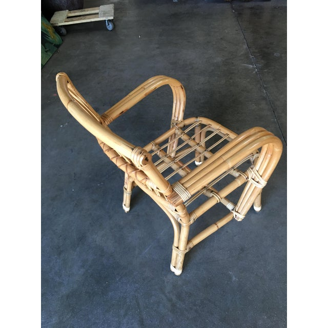 Yellow 3-Strand Bentwood Rattan Armchair With Stick Rattan Back For Sale - Image 8 of 10