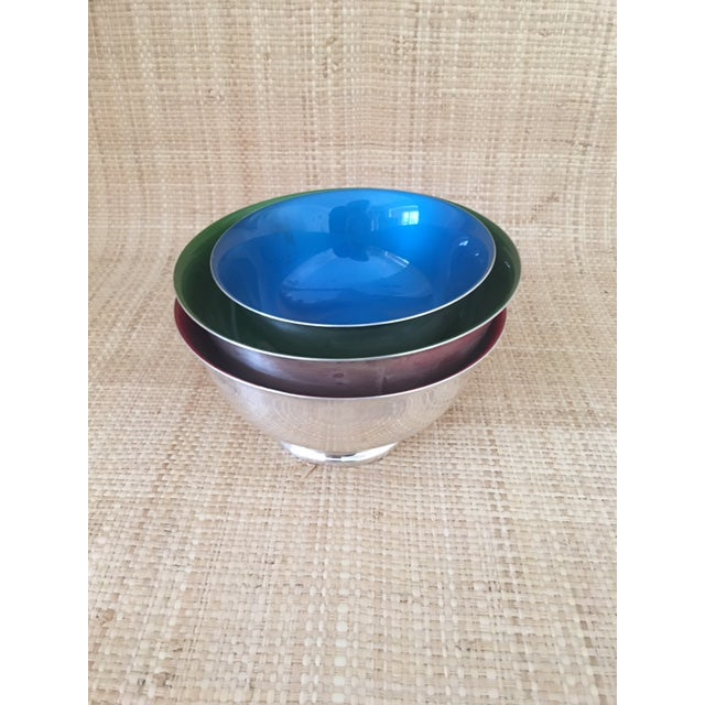 Mid-Century Modern Reed and Barton Revere Bowls With Enameled Interior - Set of 3 For Sale - Image 3 of 12
