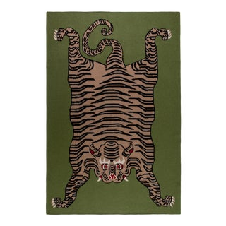 "Green Cashmere Tiger Blanket - 51"" x 71"" For Sale"