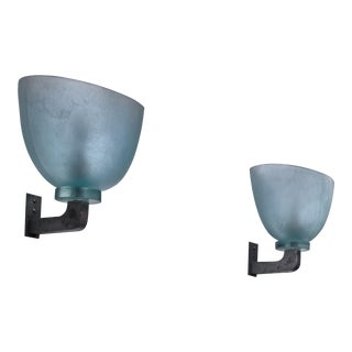 Pair of Seguso Wall Lamps, Italy For Sale