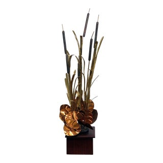 Mid-Century Modern Style Mixed Metal Lily Pads Fountain For Sale
