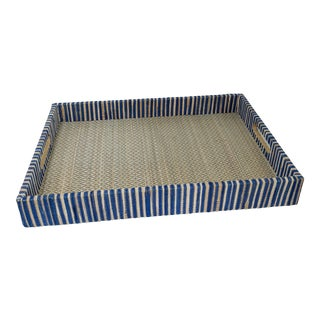 Organic Rectangular Woven Tray With Cotton and Rattan For Sale