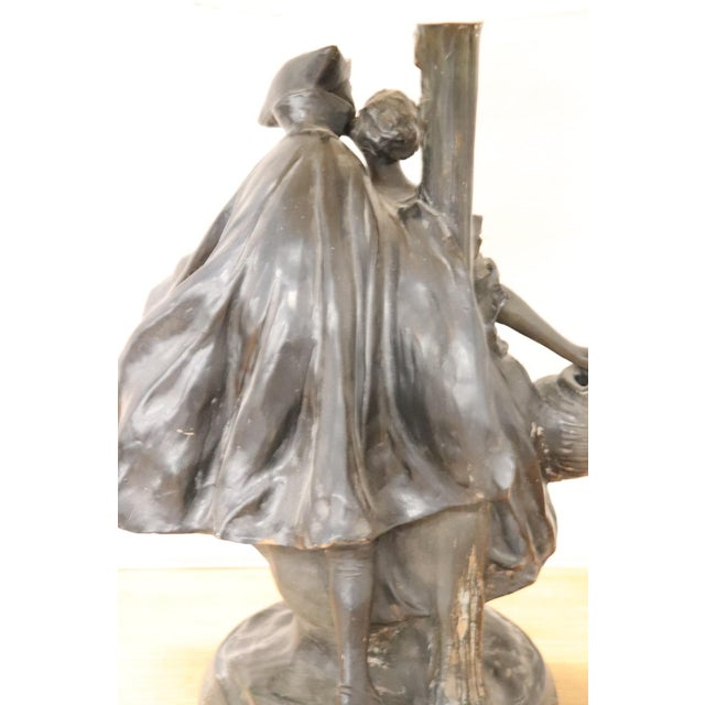20th Century Art Nouveau Table Lamp With Sculpture in Clay, Couple in Love 1920s For Sale - Image 9 of 11