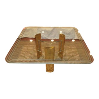Milo Baughman Style Brass & Glass Dining Table For Sale