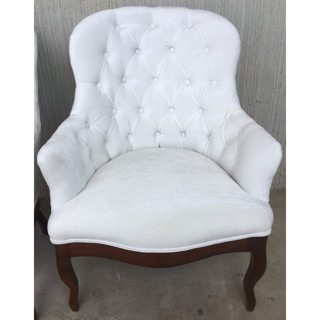 Louis XV 19th Pair of Louis XV Bergère Armchairs in White Velvet For Sale - Image 3 of 12