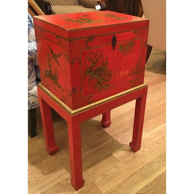 Red Chinoiserie Chest Box on Stand Table - Italy - Image 2 of 4