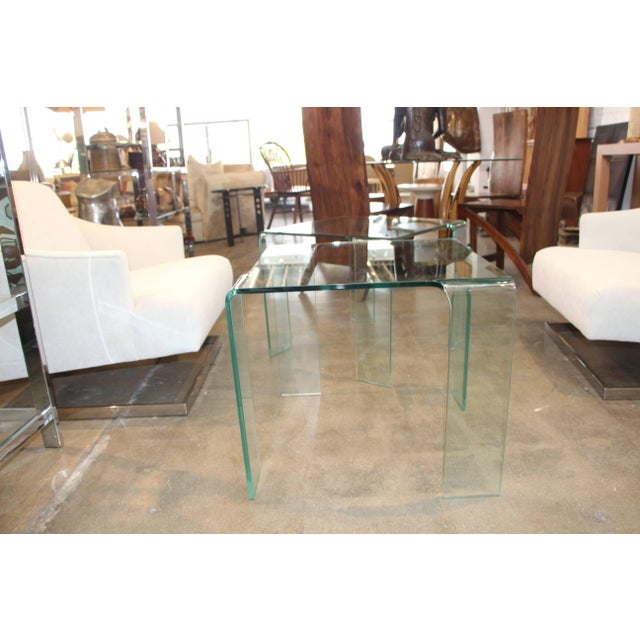 Contemporary 1980s Italian Glass Tables Attributed to Fiam - a Pair For Sale - Image 3 of 7