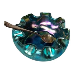 Tiffany Blue Ruffled Salt Cellar & Gorham Silver Salt Spoon