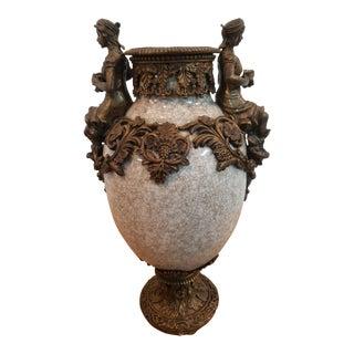 Antique Italian Art Nouveau Marble and Bronze Urn