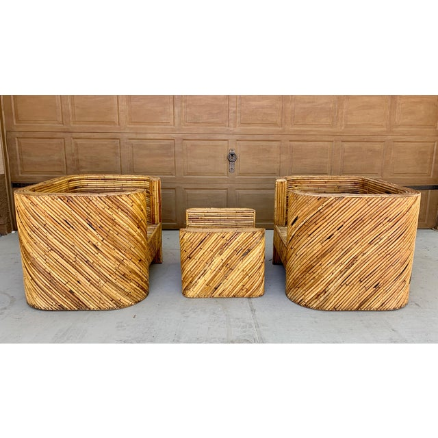 Gabriella Crespi Stacked Bamboo Club Chairs and Ottoman in the Manor of Gabriella Crespi - Set of 3 For Sale - Image 4 of 10