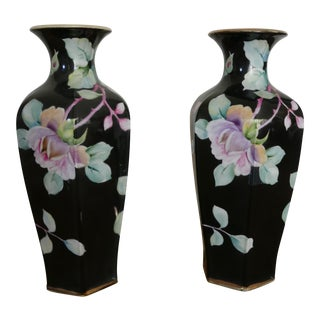 Nipon Hand-Painted Porcelain Vases - A Pair