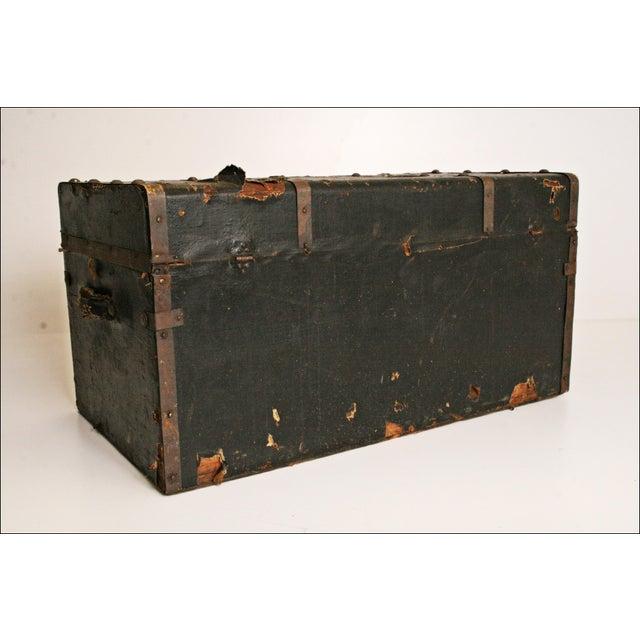 Vintage Industrial Black Steamer Trunk - Image 6 of 11