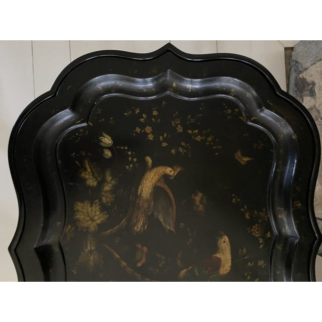 English Tray Top Table With Hand Painted Parrots For Sale - Image 10 of 13