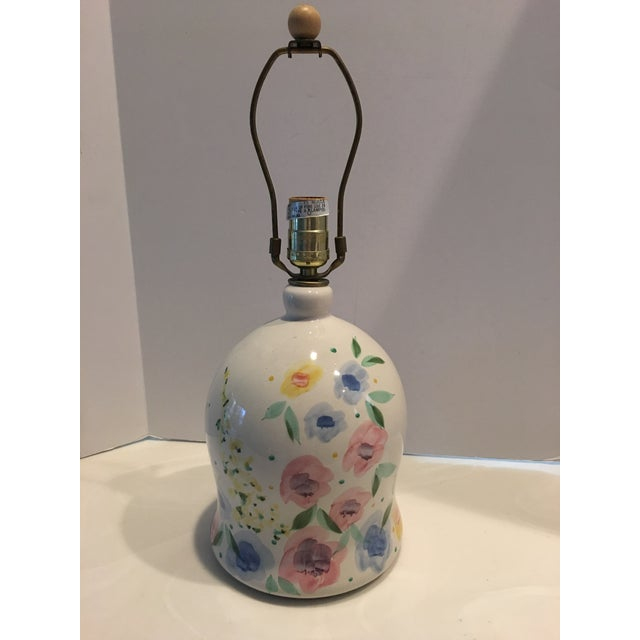 1980s Floral Painted Pottery Lamp For Sale In Detroit - Image 6 of 6