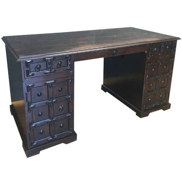 Dark Wood & Iron Gothic Desk - Image 1 of 11