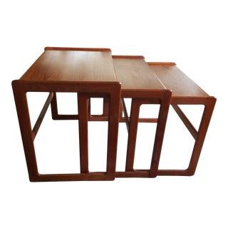 1960s Mid Century Modern Arne Hovmand Olsen Teak Nesting Tables - Set of 3 For Sale