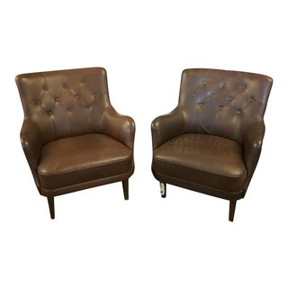 Tufted Vintage Club Chairs - A Pair For Sale