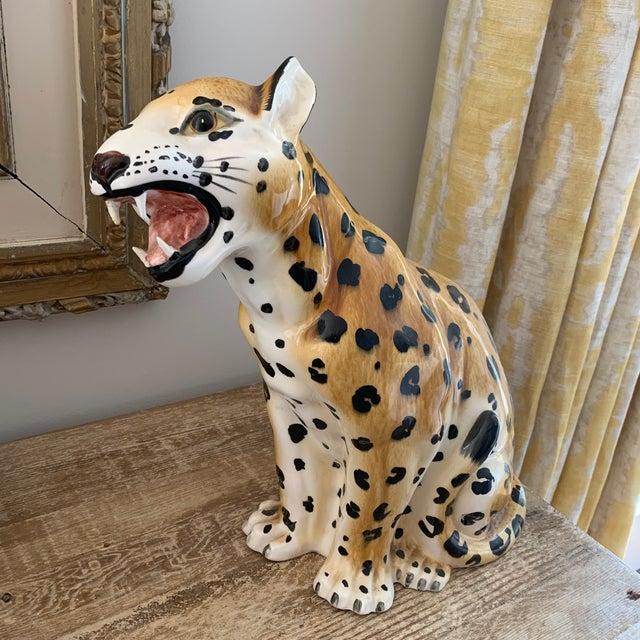 Hollywood Regency Vintage Italian Hollywood Regency Style Ceramic Leopard For Sale - Image 3 of 7