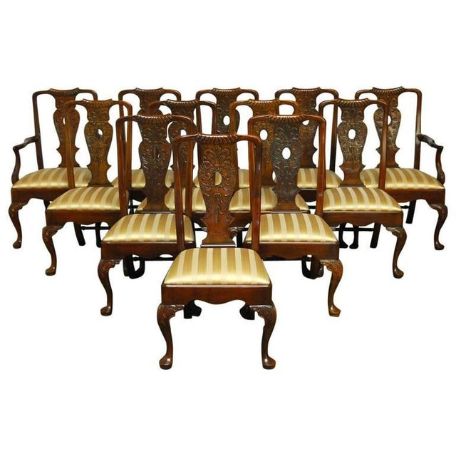Carved Mahogany Georgian Style Dining Chairs - 12 - Image 1 of 10