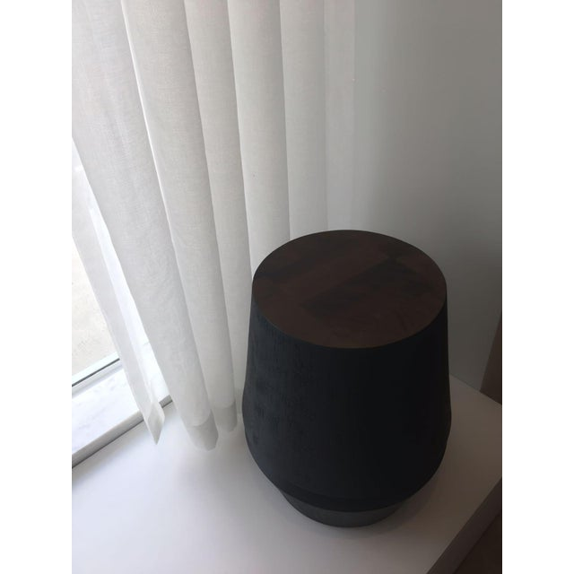 Contemporary Capirucho Side Table & Stool Black Stain Brushed For Sale - Image 3 of 7