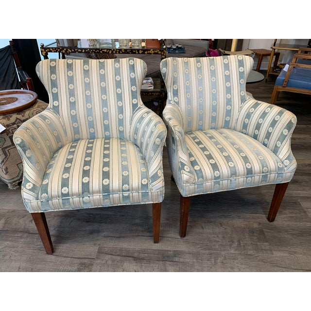 1940s Cream & Blue Velvet Boudoir Chairs - a Pair For Sale - Image 10 of 10