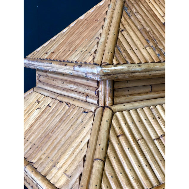 Tan Antique Rattan Pagaoda For Sale - Image 8 of 9