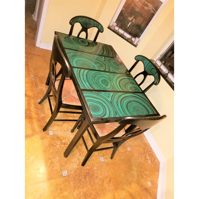 Super Rare 5 piece Dining Set with Faux Malachite! Vintage Mid Century Dining Table that extends with 2 leaves. Though we...