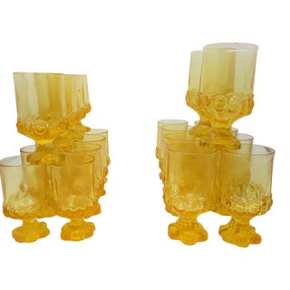 Vintage 1970s Tiffin Franciscan Set of 22 Mid Century Gold/Yellow MCM Glassware Goblets For Sale