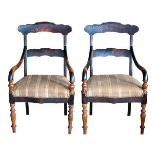 Danish Early 20th Century Country Style Armchairs in Stained Oak For Sale