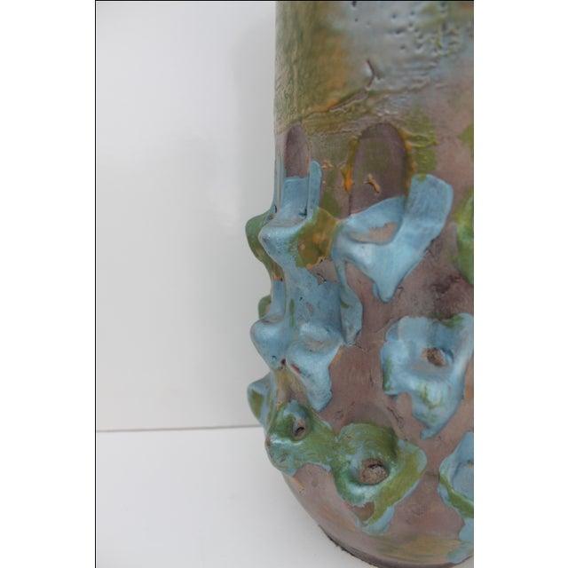 Blue Vintage Blue Bonnet Ceramic Vase For Sale - Image 8 of 10