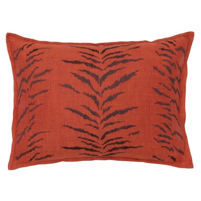 French Tiger Stripe Pattern Vermilion Pillow For Sale - Image 3 of 3