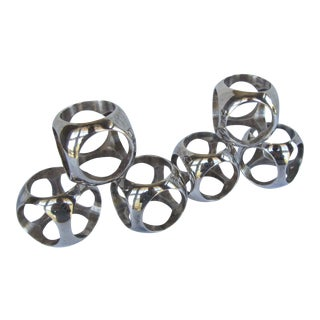 Vintage Mid Century Modern Silverplate Napkin Rings - Set of 6 For Sale