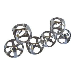 Vintage Mid Century Modern Silverplate Napkin Rings - Set of 6