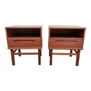 Nils Jonsson for Hjn Mobler Danish Teak Nightstands - a Pair For Sale