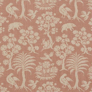 Schumacher Woodland Silhouette Fabric in Blush For Sale