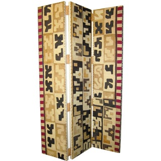 Kuba Cloth Three-Panel Folding Screen For Sale