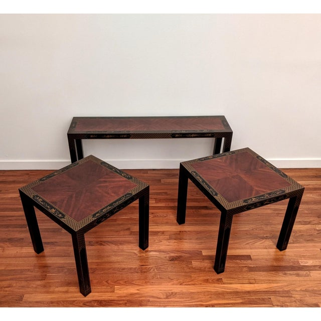Contemporary 1980s Parsons Chinoiserie Side Tables, a Pair (Drexel - Et Cetera Collection) For Sale - Image 3 of 12