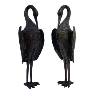 1970s Bronze Cranes Bookends / Sculptures - a Pair For Sale