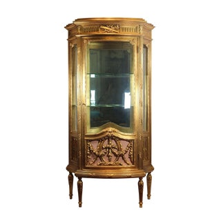 1920s Vintage Italian Curio Display Cabinet For Sale