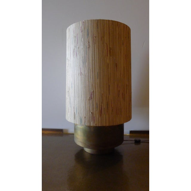 Modern Brass Table Lamp with Custom Grasscloth Shade For Sale In Los Angeles - Image 6 of 10
