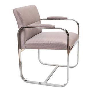Mid-Century Chrome Chair in Fortuny Fabric For Sale