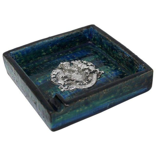 1960s Bitossi Ceramic Blue Ashtray For Sale - Image 10 of 10