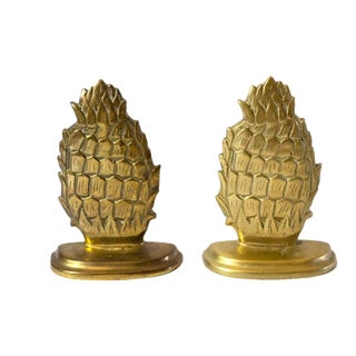 1970s Vintage Brass Pineapple Bookends - A Pair For Sale