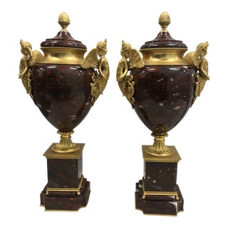 1920's Italian Rouge Marble and Gold Angel Urns - a Pair For Sale