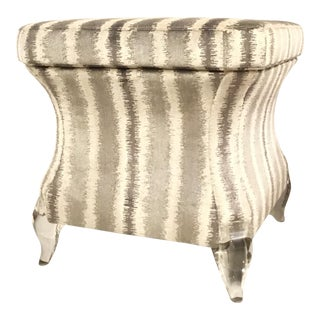 Modern Caracole Gray and White Cut Velvet Pop a Top Storage Ottoman/Bench For Sale