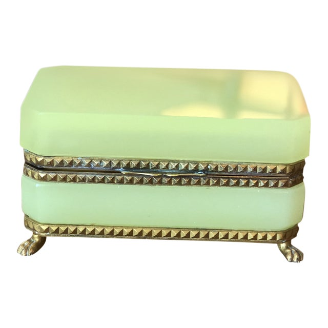Yellow-Green Opaline Glass Box With Brass Trim and Feet For Sale
